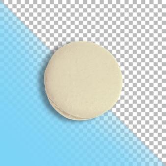 Вид сверху один белый французский macaron, изолированные на прозрачном фоне.