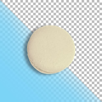 One white french macaron top view isolated on transparent background.