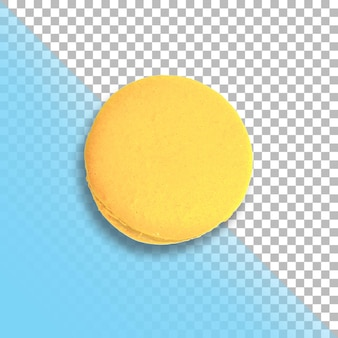 One yellow french macaron top view isolated on transparent background.