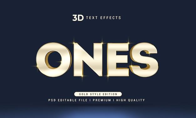 Ones3dテキストスタイル効果モックアップテンプレート