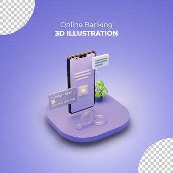 휴대 전화 및 신용 카드를 사용한 온라인 뱅킹 3d 렌더링 개념