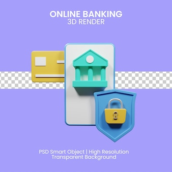 Интернет-банкинг для нужд клиентов банка. 3d иллюстрация