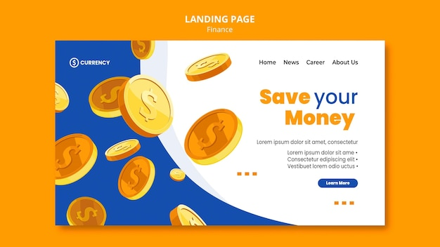 Online banking template landing page