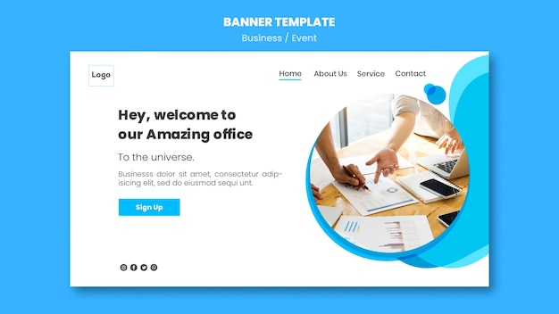 Online banner template for business conference
