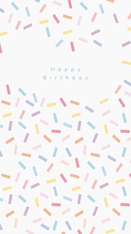 紙吹雪振りかける背景を持つオンライン誕生日挨拶テンプレートpsd