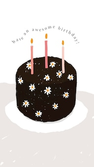 Modello di auguri di compleanno online psd con torta carina e testo dei desideri