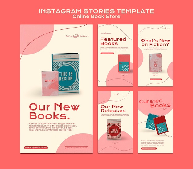 Online book store social media stories