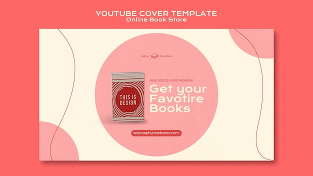 Modello di copertina di youtube del negozio di libri online