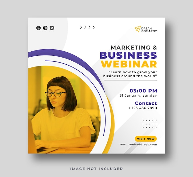 Online business and marketing webinar social media post or sqare flyer