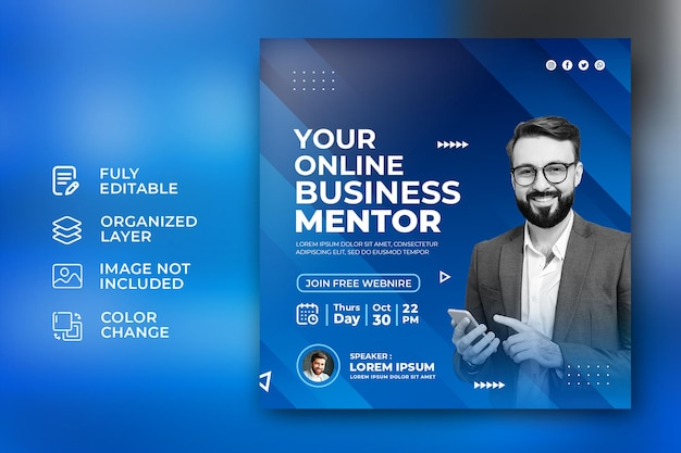 Online business mentor corporate social media promotion post template in abstract blue background