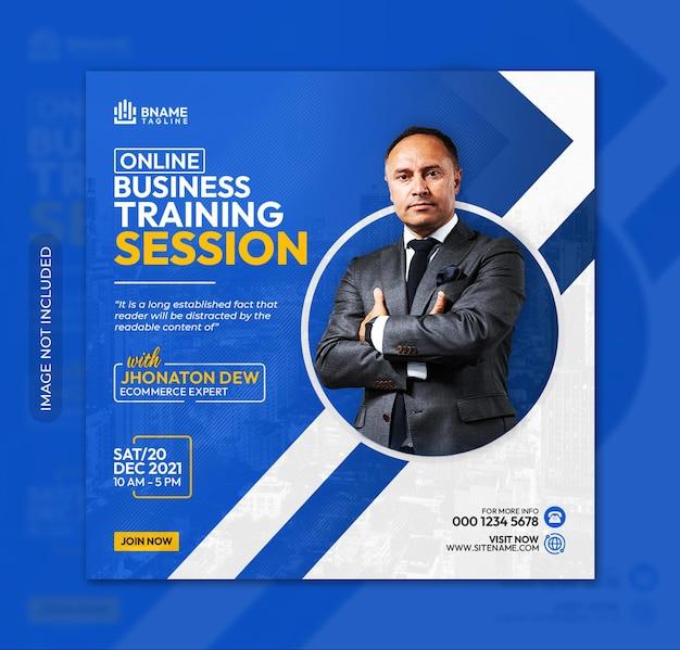 Online business training session square flyer or instagram banner social media post template
