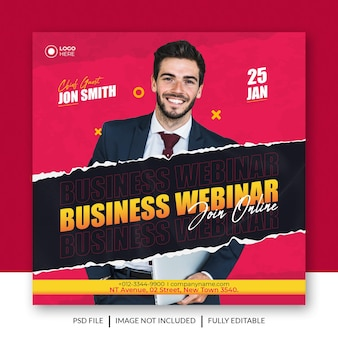 Online business webinar social media post or banner or square flyer template with torn paper effect