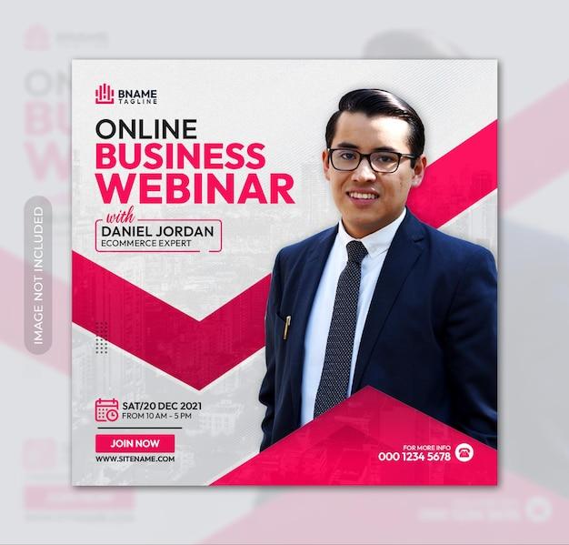 Online business webinar square flyer or instagram banner social media post template