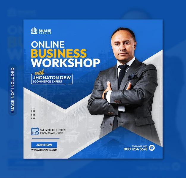 Online business workshop square flyer or instagram banner social media post template
