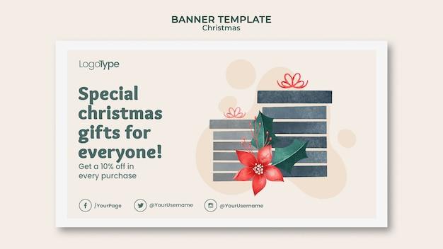 Шаблон баннера для рождественских покупок онлайн