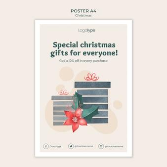 Poster modello di shopping natalizio online