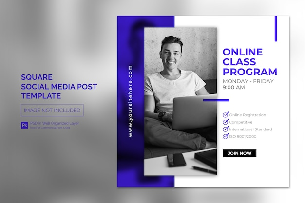 Online class program social media post or square banner template