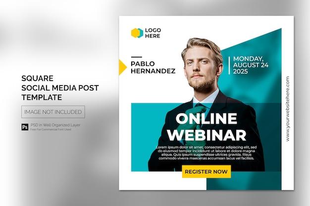 Online class program social media post or square banner template