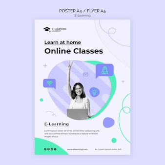 Online classes flyer template