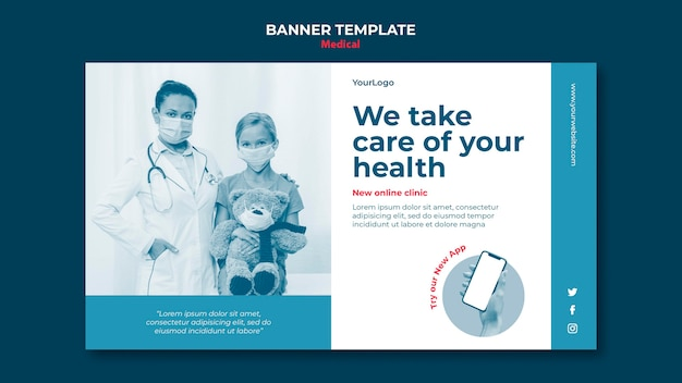 Modello di banner clinica online