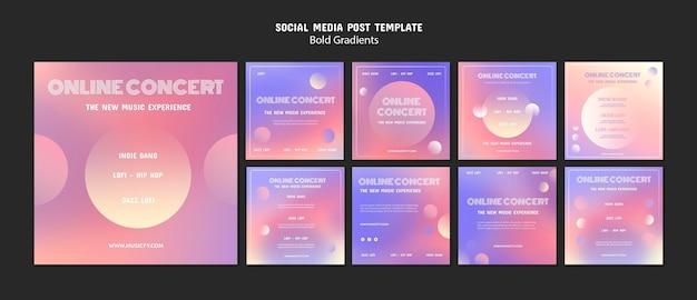 Online concert social media posts