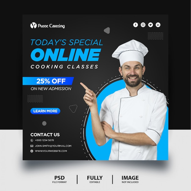 Online cooking class promotion social media post banner