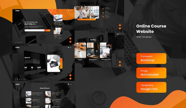 Online course and e-learning education marketplace landing page website template