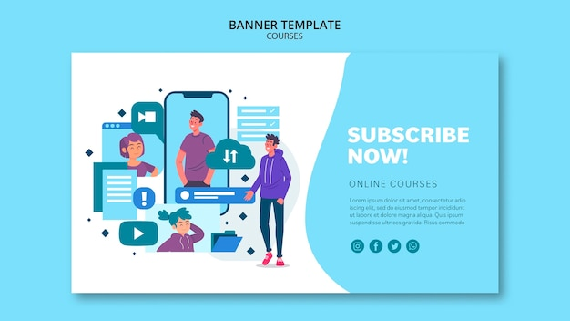 Online courses banner template