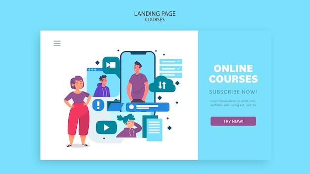 Шаблон целевой страницы онлайн-курсов