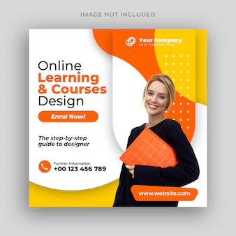 Online courses social media post banner & square flyer