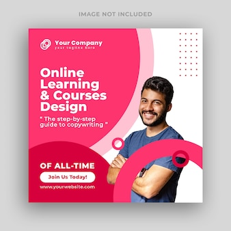Online courses social media post or square banner template