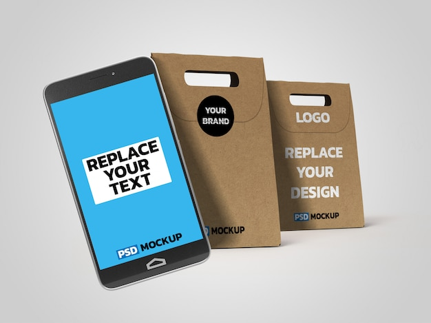 Online deliverly box mockup with smartphone