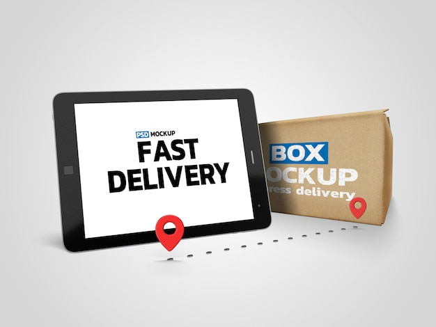 Online deliverly box mockup with tablet