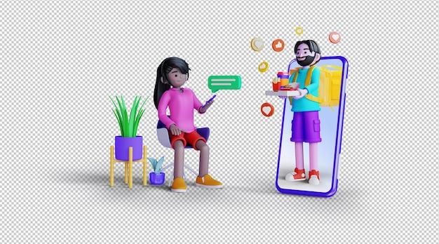 온라인 배송 3d 일러스트레이션 렌더링