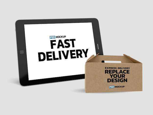 Online delivery box mockup with tablet