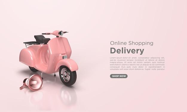 3dレンダリングによるオンライン配信サービスのオンラインショッピングコンセプト