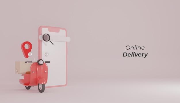 オンライン配達店の赤いスクーターと電話のイラスト3dレンダリング