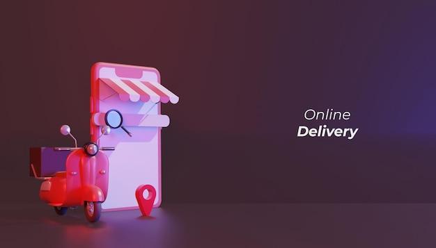 온라인 배달 상점 빨간 스쿠터 및 전화 그림 3d 렌더링