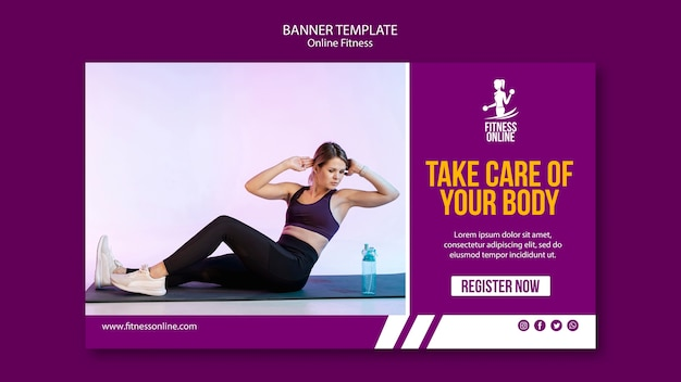 Online fitness concept banner template