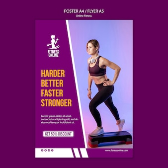 Online fitness concept flyer template