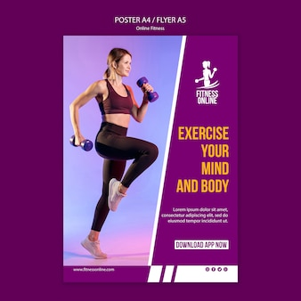 Online fitness concept poster template