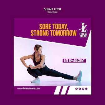 Online fitness concept square flyer template