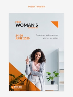 Online flyer with business woman concept