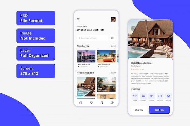 Онлайн бронирование гостиничного номера мобильное приложение пользовательского интерфейса
