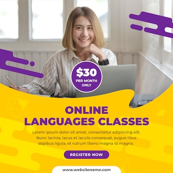 Online languages classes social media post template