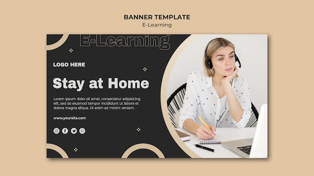 Online learning banner template with photo Free Psd