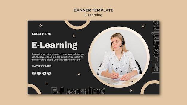 Online learning banner template Free Psd
