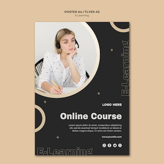 Online learning flyer template with photo