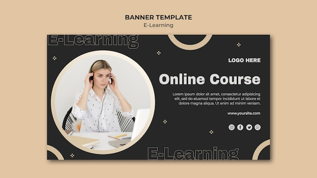 Online learning horizontal banner template Free Psd