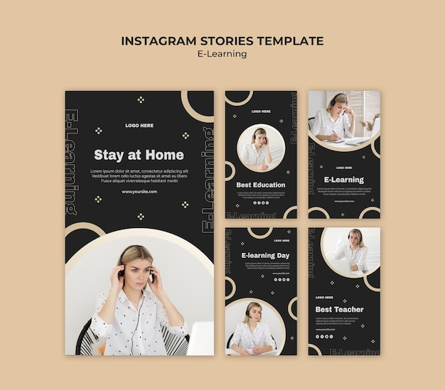 Online learning instagram stories template Free Psd